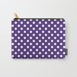 White Polka Dots on Indigo Purple Carry-All Pouch