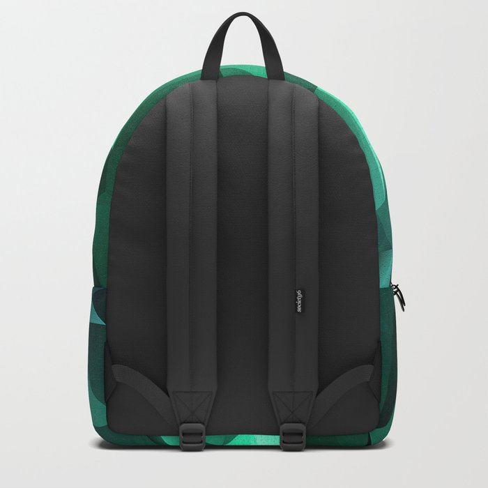 Polygonal geometric triangles pattern . Green , purple and turquoise Backpack