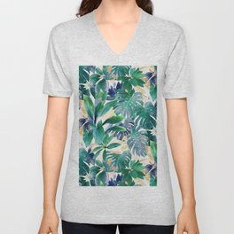Golden Summer Tropical Emerald Jungle Unisex V-Neck