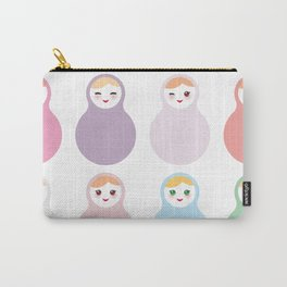 dolls matryoshka on white background, pastel colors Carry-All Pouch