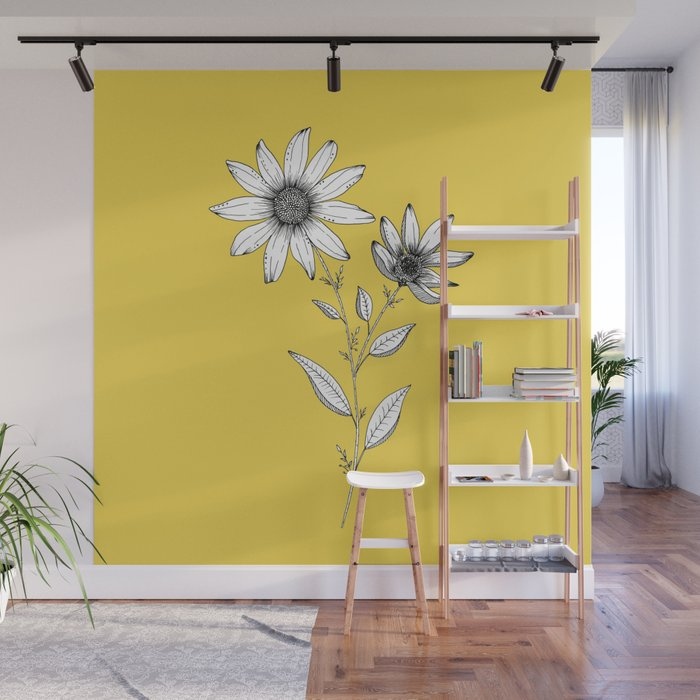 Wildflower line drawing | Botanical Art Wall Mural by ccartstudio ...