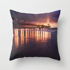Huntington Beach Sunset Throw Pillow