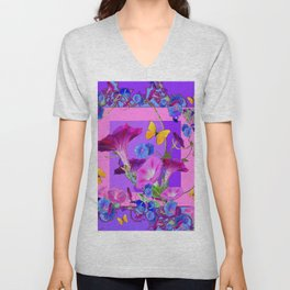 BUTTERFLIES & PURPLE-BLUE MORNING GLORY VINES  PINK VINETTE Unisex V-Neck