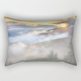 Sunrise and Dust - Mountains - Forest - Wood - Trees - Fog Rectangular Pillow