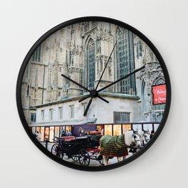 Horse Carriage Church Vienna Austria Wall Clock