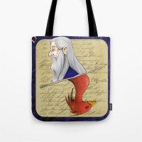 dumbledore Tote Bags featuring Albus Dumbledore by Imaginative Ink