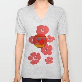RED FLOWER IN POMP Unisex V-Neck