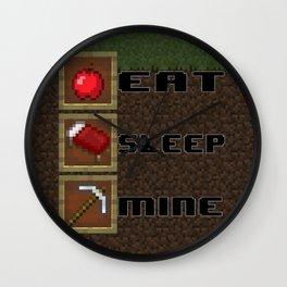 Eat, Sleep, Mine! Wall Clock