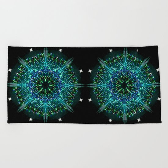 Kaleidoscope fantasy on lighted peacock shape Beach Towel