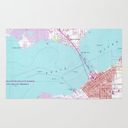 Punta Gorda & Port Charlotte Florida Map (1957) Rug