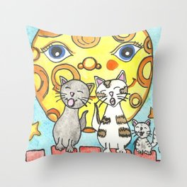 Singing Cats on the Fence Throw Pillow