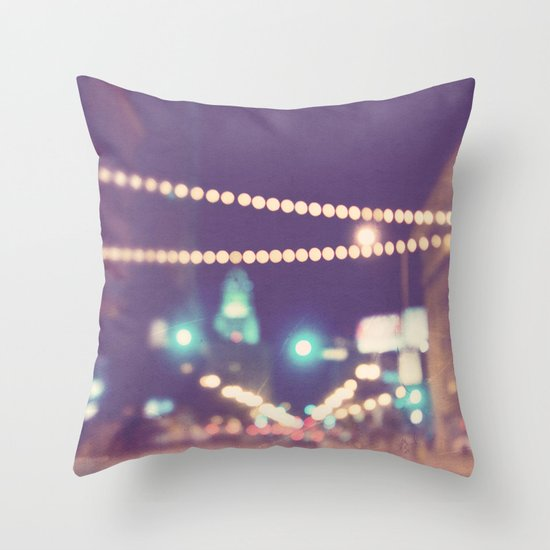 Sparkle No.2. downtown Los Angeles at night photograph Throw Pillow