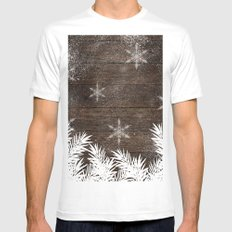 Winter white snow pine trees brown rustic wood Christmas White MEDIUM Mens Fitted Tee