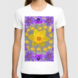 ULTRA VIOLET PURPLE & YELLOW FLOWERS ART DESIGN T-shirt