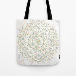 Marble Mandala Sea Shimmer Gold + Turquoise Tote Bag