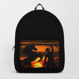 Cowboy at sunset Backpack