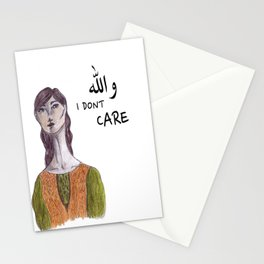 والله I don't care Stationery Cards