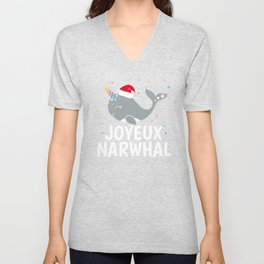 Cute Joyeux Noel Narwhal Kawaii Animal Christmas Xmas Unisex V-Neck