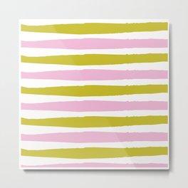 Pink and Green Stripe Metal Print