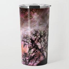 Black Trees Pink Peach Sorbet Space Travel Mug