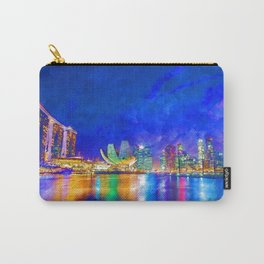 Night At Marina Bay | Singapore - Vivid Watercolor Painting Carry-All Pouch