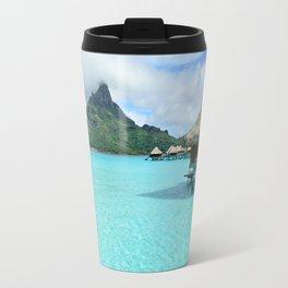 Luxury over-water resort with view on Bora Bora island Travel Mug
