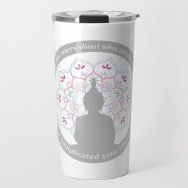 Buddha on a sacred lotus with quotes Travel Mug