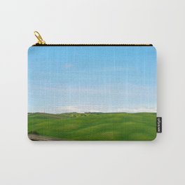 Beautiful spring minimalistic landscape with green hills in Tuscany countryside, Italy Carry-All Pouch