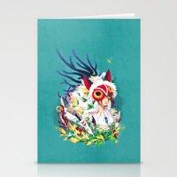 princess mononoke Stationery Cards featuring Princess Mononoke by Stephanie Kao