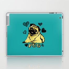 Adorable Puppy Pug on teal with hearts Laptop & iPad Skin