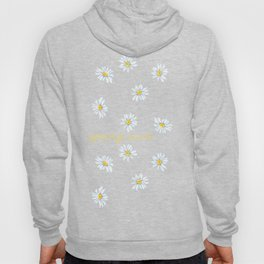 Spring rain with daisies and yellow gold typography script Hoody