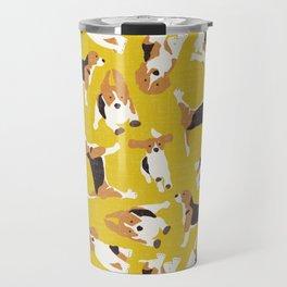 beagle scatter yellow Travel Mug