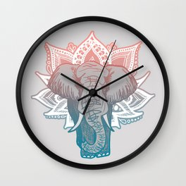 Lotus Elephant Mandala Wall Clock