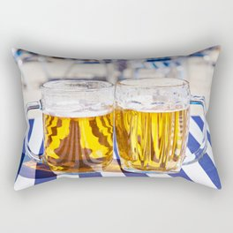 Two mugs of beer on a table Rectangular Pillow