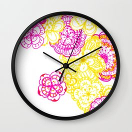 28. Colourful Pink and Yellow Flower in Henna World Wall Clock