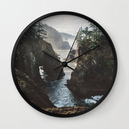 Misty Oregon Coast Wall Clock