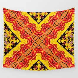 ethnic cross red Wall Tapestry