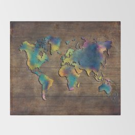 World Map wood Throw Blanket