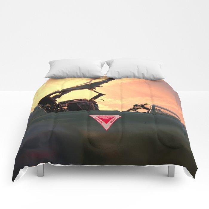 Hawker Hunter sunset Comforters