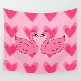 pink swan Wall Tapestry