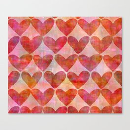 red Hearts mixed media pattern Canvas Print