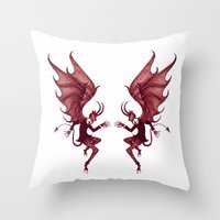 diablo Throw Pillows featuring Double Diablo by Little Bunny Sunshine