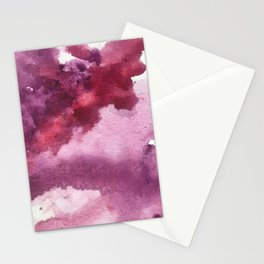 Blushing [5]: a minimal abstract watercolor and ink piece in shades of purple and red Stationery Cards