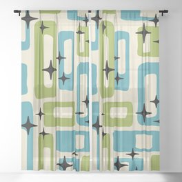 Retro Mid Century Modern Abstract Pattern 225 Blue and Green Sheer Curtain