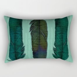 Mint green and feathers Rectangular Pillow