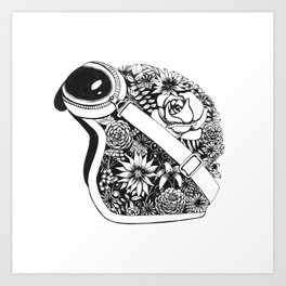 Flower Helmet Art Print
