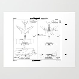 Douglas A3D-2Q Skywarrior Schematic Art Print