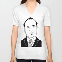 scarface V-neck T-shirts featuring Al 'Scarface' Capone by Danny Abbott