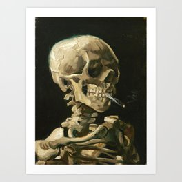 Van Gogh Head of a skeleton with a burning cigarette Art Print