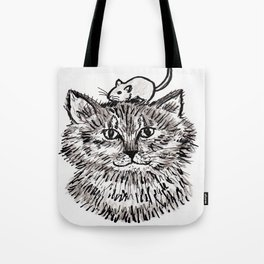 Grey Kitty and a Mouse Tote Bag
